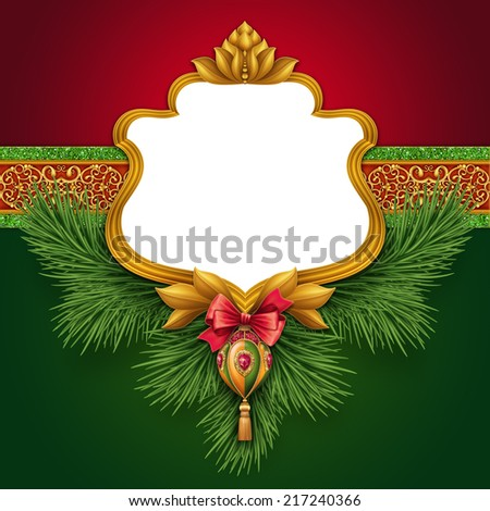 traditional vintage Christmas greeting card template, festive banner illustration - stock photo