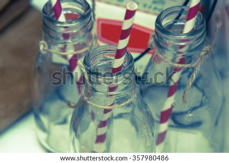 Traditional vintage glass bottle close up - stock photo