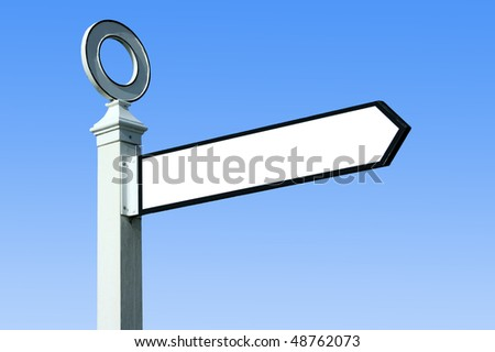 Traditional white wooden blank finger post - stock photo