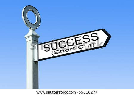 Traditional white wooden finger post success sign - stock photo
