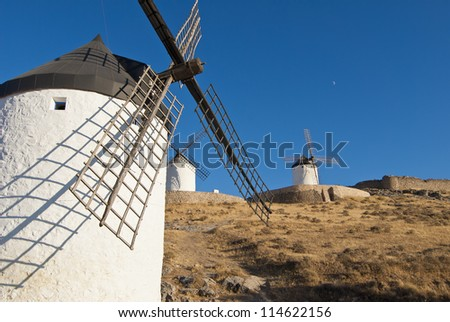 "Traditional wind mills in the province of Toledo in Spain, which were reflected by Miguel de Cervantes in his ""Don Quixote"""