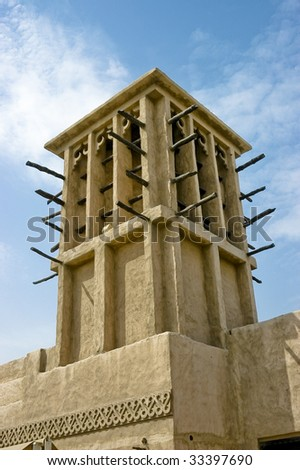 Traditional wind tower from the arabic architecture - stock photo