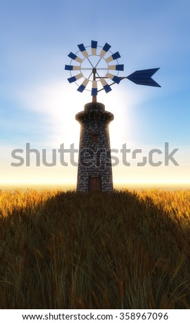 traditional windmill in Mallorca, Balearic Islands, Spain - stock photo