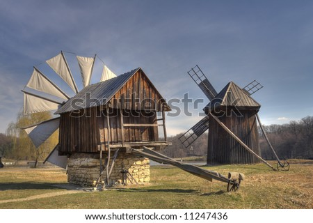 Traditional windmills from Romania, at the ASTRA Ethnographic Museum in Sibiu, Romania.