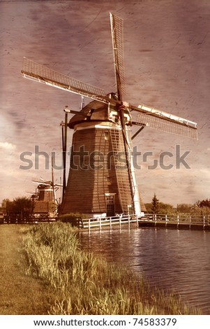 Traditional windmills  on the country side of Holland - stock photo