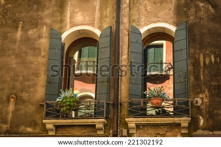 Traditional window of typical old Venice building ,Italy. - stock photo