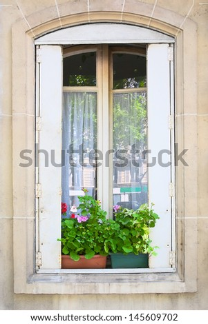 Traditional window whith flowers in Paris, France - stock photo