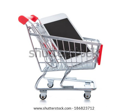 Traditional wire mesh shopping trolley or cart with a tablet computer inside  conceptual of online or internet shopping and e-commerce  isolated on white - stock photo