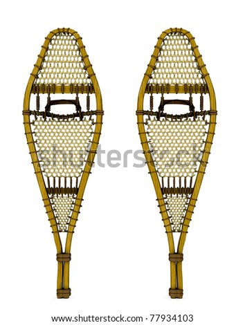 Traditional wood webbed snow shoes. Isolated illustration on clean white background. - stock photo