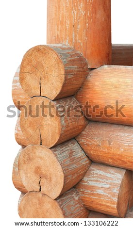 traditional wooden constraction isolated on white - stock photo