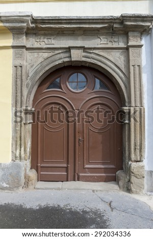 Traditional wooden door in the town, Slovakia, Europe