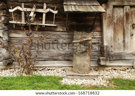 Traditional wooden house in Hobita, Romania - stock photo