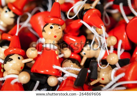 Traditional wooden Pinocchio toy. Italy. - stock photo