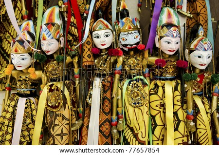 traditional wooden puppets in bali indonesia
