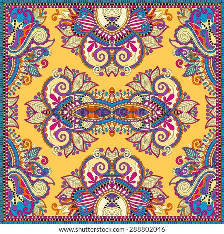Traditional yellow ornamental floral paisley bandanna. Square ornament. You can use this pattern in the design of carpet, shawl, pillow, cushion,  raster version  illustration - stock photo