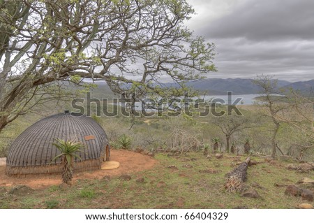 Traditional Zulu Hut in South Africa - stock photo