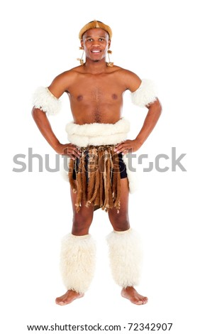 traditional zulu man studio portrait - stock photo