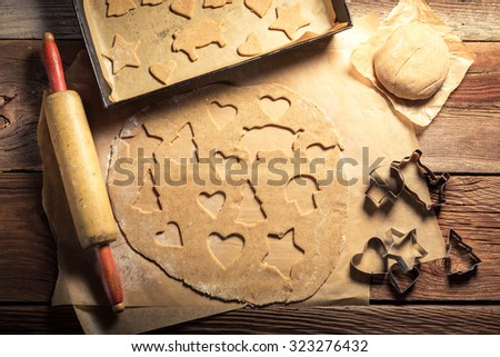 Traditionally gingerbread cookies for Christmas