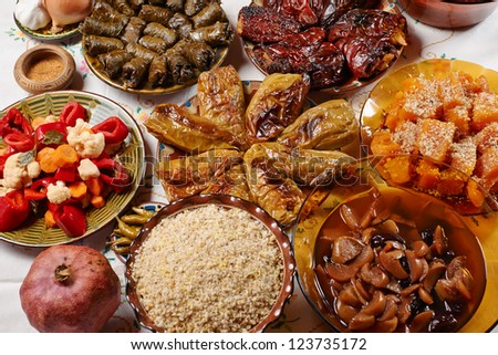 Traditionasl Bulgarian Christmas vegetarian food on holiday table - stock photo