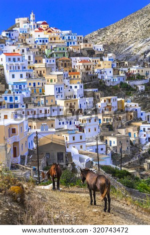 traditionlal villages of Greece - Olimpos in Karpathos island - stock photo