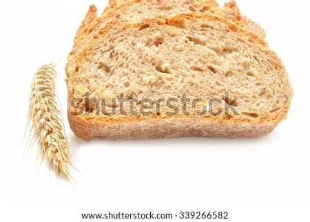 Tradtional homemade bread on white background