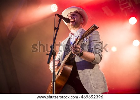 Traena, Norway - July 08, 2016: concert of Norwegian folk and rock band Violet Road at Traenafestival, music festival taking place on the small island of Traena in Norway