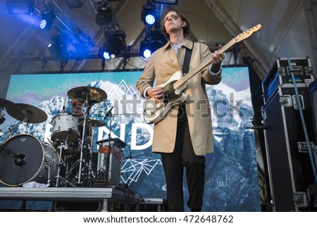 Traena, Norway - July 9 2016: concert of Norwegian musician and songwriter Bendik  at Traenafestival, music festival taking place on the small island of Traena