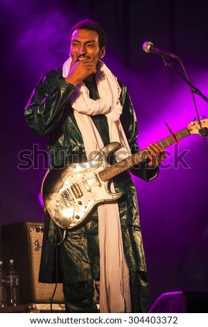 "Traena, Norway - July 10 2015: concert of rock blues world music Nigerien Tuareg artist Omara ""Bombino"" Moctar at Traenafestival, music festival taking place on the small island of Traena"
