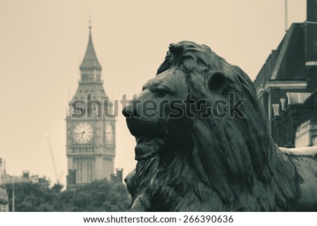 Trafalgar Square lion statue and Big Ben in London in BW - stock photo