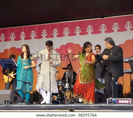 TRAFALGAR SQUARE - OCTOBER 4: Asian band preforms on stage during DIWALI FESTIVAL event at Trafalgar Square October 4, 2009 in Westminster, London. - stock photo