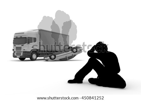 Traffic accident / collision / disappointment / 3D rendering