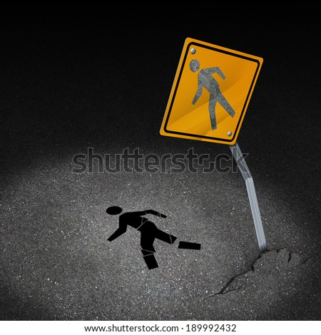 Traffic accident injury concept as a damaged road sign with a person pedestrian symbol fallen on the floor with broken bones after a car crash as a metaphor for accident insurance or drunk driving. - stock photo