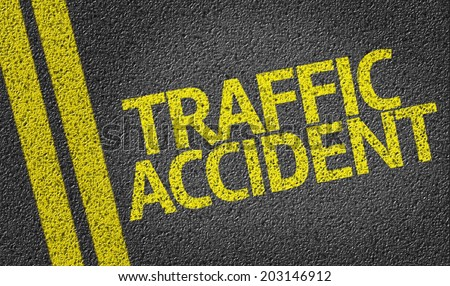 Traffic Accident written on the road - stock photo