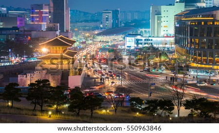 Traffic at Dongdaemun gate in Seoul South Korea.
