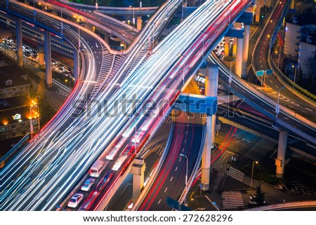 traffic at night, shanghai china. - stock photo