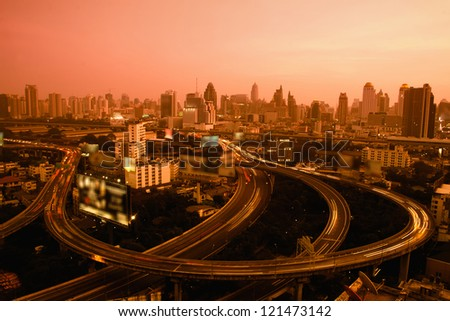 Traffic at sunset,Bangkok Thailand - stock photo