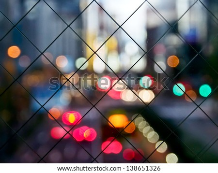 traffic bokeh in the city - stock photo