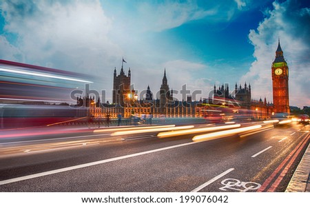 Traffic car lights on Westminster Bridge - London, England. - stock photo