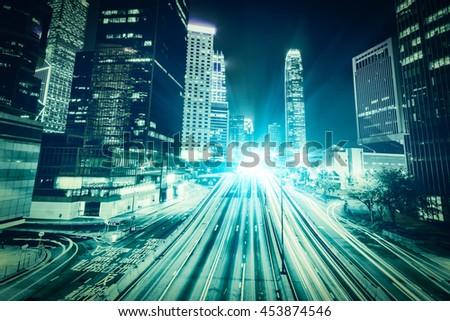 Traffic city night at hongkong china, light trails on the street in hongkong, modern urban city at night with freeway traffic - stock photo