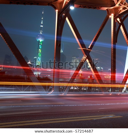 traffic conditions on Bridge in the city of Shanghai