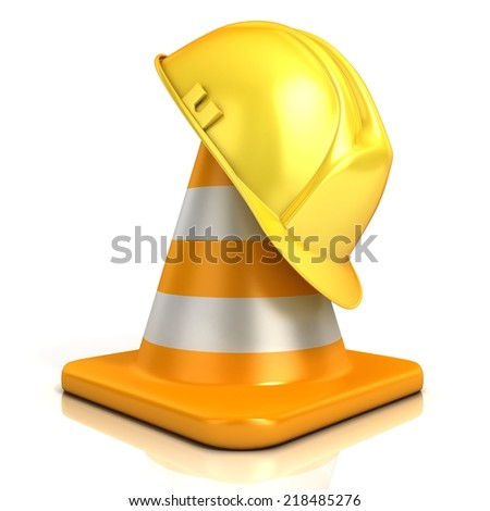Traffic cone and safety helmet isolated on white background - stock photo