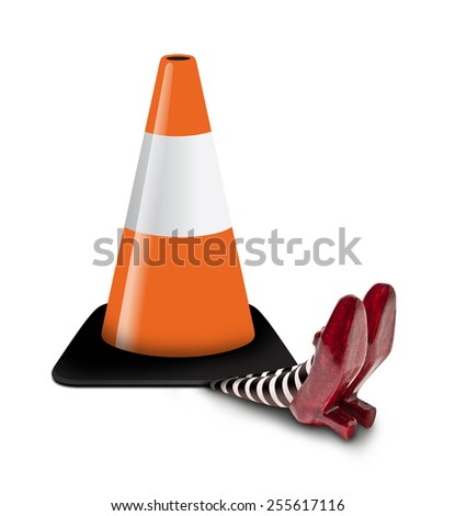 Traffic Cone fallen on the Wicket Witch - stock photo