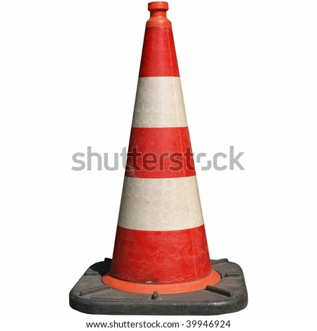 Traffic cone for road works isolated on white