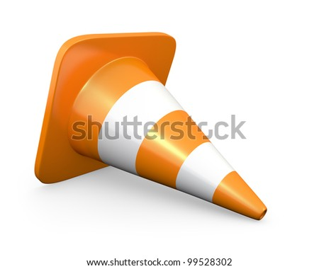 Traffic cone, isolated on white background - stock photo