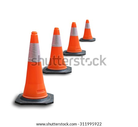 traffic cone,isolated - traffic cone on a white background - stock photo