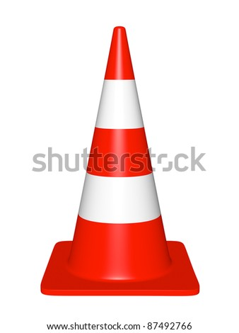traffic cone on a white background - stock photo