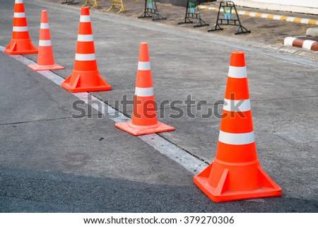 traffic cone on the asphalt  - stock photo