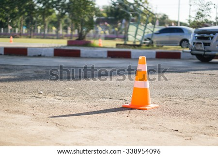 Traffic cone on the street