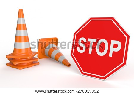 Traffic cones and sign stop isolated on white background - stock photo