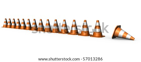 traffic cones arranged in line- do not enter interdiction zone - stock photo